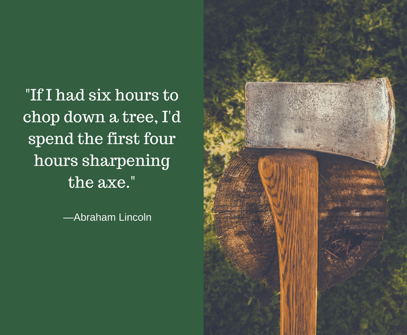 A quote by Abraham Lincoln that emphasizes the importance of planning ahead to increase efficiency. We use this quote to demonstrate the need to plan ahead for social media marketing efforts.